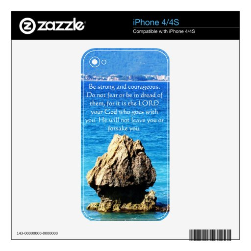 Deuteronomy 31:6 Bible Verses about courage Decals For iPhone 4S