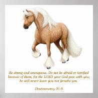 Deuteronomy 31:6 Proud Horse Bible Verse Print