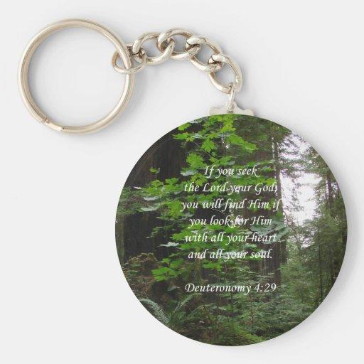 Deuteronomy 4:29 ~ Seek the Lord Basic Round Button Keychain