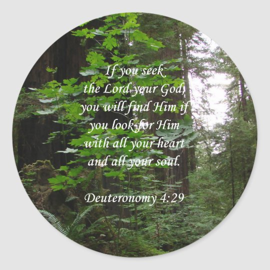 Deuteronomy 4:29 ~ Seek the Lord Classic Round Sticker
