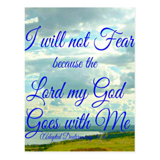 Deuteronomy Bible I will not fear because the Lord Postcard