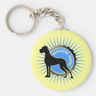Deutsche Dogge stern blau Basic Round Button Keychain