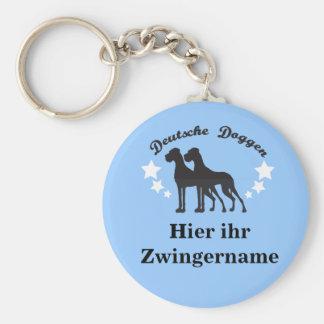 Deutsche Doggen Basic Round Button Keychain
