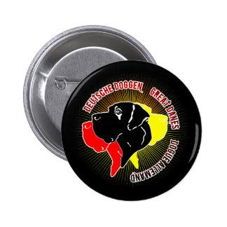 Deutsche Doggen Schwarz Rot Gold Pinback Button