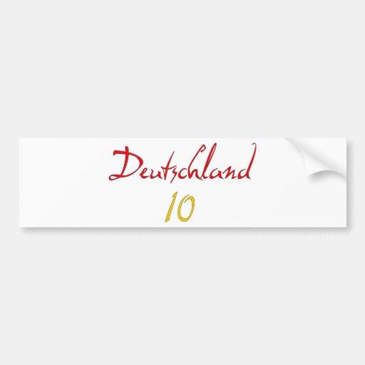 ¡Deutschland 10! Etiqueta De Parachoque
