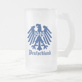 Deutschland 1949 German Eagle Emblem 16 Oz Frosted Glass Beer Mug