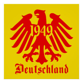 Deutschland 1949 German Eagle Emblem Poster Yellow