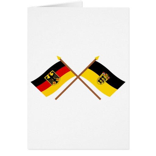 Deutschland & Baden-Württemburg Flaggen, gekreuzt Greeting Card
