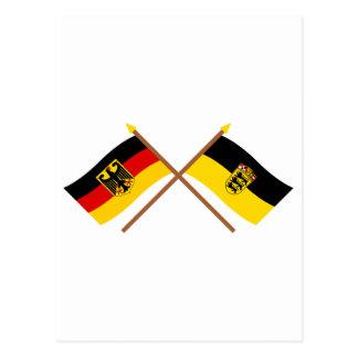 Deutschland & Baden-Württemburg Flaggen, gekreuzt Postcard