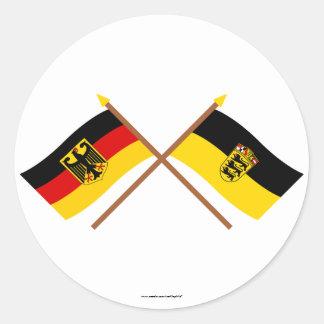 Deutschland & Baden-Württemburg Flaggen, gekreuzt Sticker