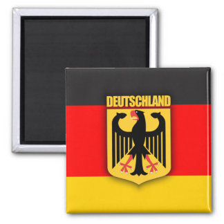 Deutschland Flag and Coat of Arms 2 Inch Square Magnet