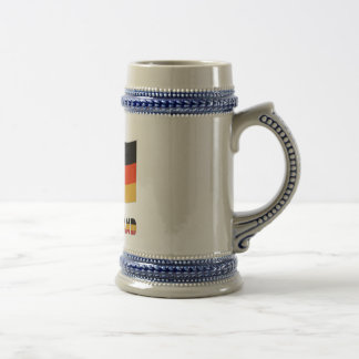 Deutschland Flag and Soccer Ball Gray Border Beer Stein