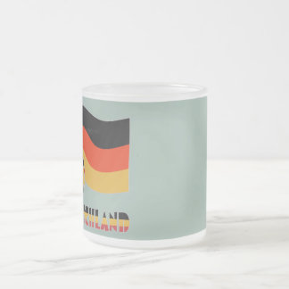 Deutschland Flag and Soccer Ball Gray Border Frosted Glass Coffee Mug