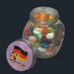 """Deutschland Flag and Soccer Ball Gray Border Glass Candy Jar<br><div class=""""desc"""">Gray border shows on this image on the German flag,  soccer ball and the word DEUTSCHLAND. This is so the image will show well on many different background colors.   Support Team Deutschland! The soccer ball or football is also colored in with the black,  yellow and red tricolor.</div>"""