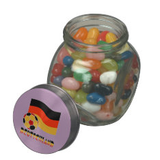 Deutschland Flag and Soccer Ball Gray Border Glass Candy Jar at Zazzle
