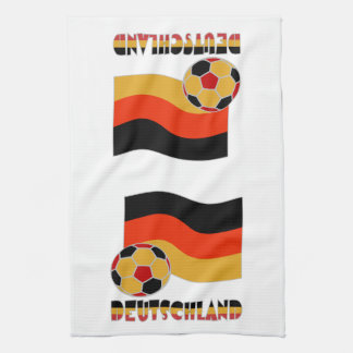 Deutschland Flag and Soccer Ball Gray Border Hand Towels