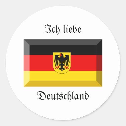 Deutschland Flag Gem Classic Round Sticker
