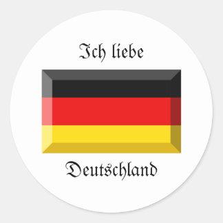 Deutschland Flag Gem Round Sticker