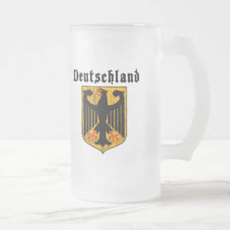 Deutschland Frosted Glass Beer Mug