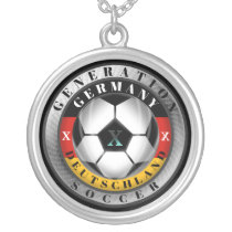 Deutschland Generation X German Soccer Silver Plated Necklace