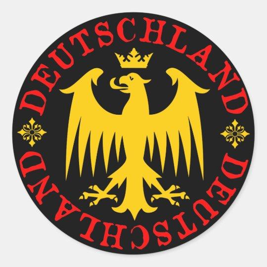 Deutschland German Eagle Emblem Classic Round Sticker   Zazzle.com