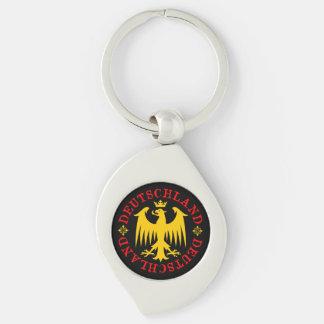 Deutschland German Eagle Emblem Keychain Silver-Colored Swirl Keychain