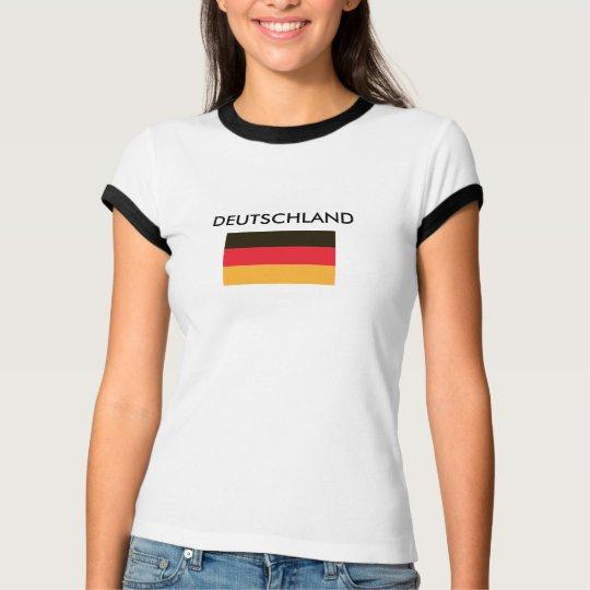 DEUTSCHLAND German flag Black and white Ringer T-Shirt