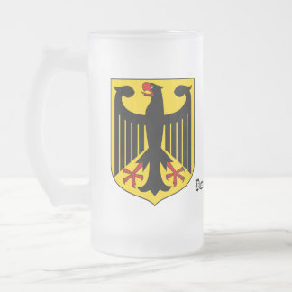 Deutschland Germany Coat of Arms 16 Oz Frosted Glass Beer Mug