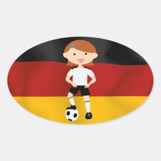 Deutschland Germany Fußball Mädchen 3 Oval Sticker