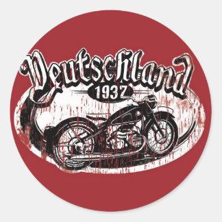 Deutschland Motowear Pegatina Redonda