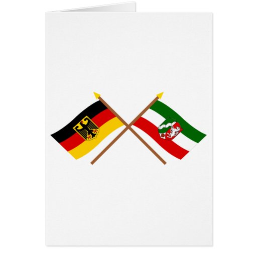 Deutschland & Nordrhein-Westfalen Flaggen gekreuzt Cards