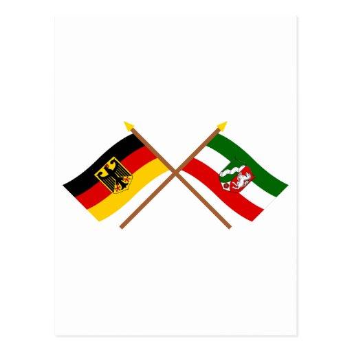 Deutschland & Nordrhein-Westfalen Flaggen gekreuzt Post Cards