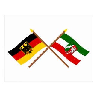 Deutschland & Nordrhein-Westfalen Flaggen gekreuzt Postcard