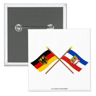 Deutschland & Schleswig-Holstein Flaggen, gekreuzt 2 Inch Square Button