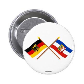 Deutschland & Schleswig-Holstein Flaggen, gekreuzt 2 Inch Round Button