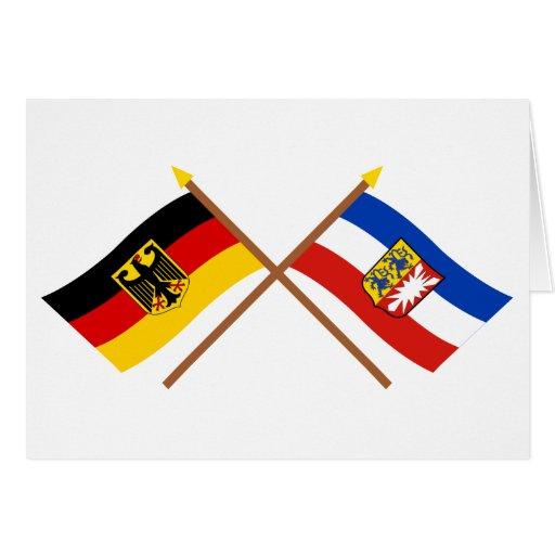 Deutschland & Schleswig-Holstein Flaggen, gekreuzt Cards