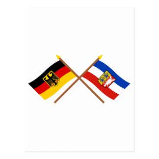 Deutschland & Schleswig-Holstein Flaggen, gekreuzt Postcard
