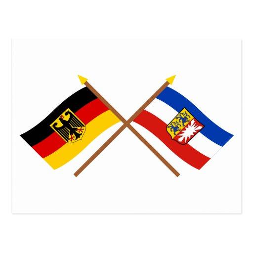 Deutschland & Schleswig-Holstein Flaggen, gekreuzt Post Card