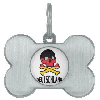 Deutschland Skull Pet Tag