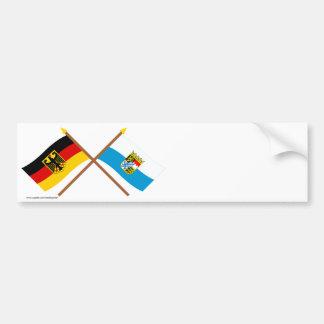 Deutschland und Bayern Flaggen, gekreuzt Bumper Sticker