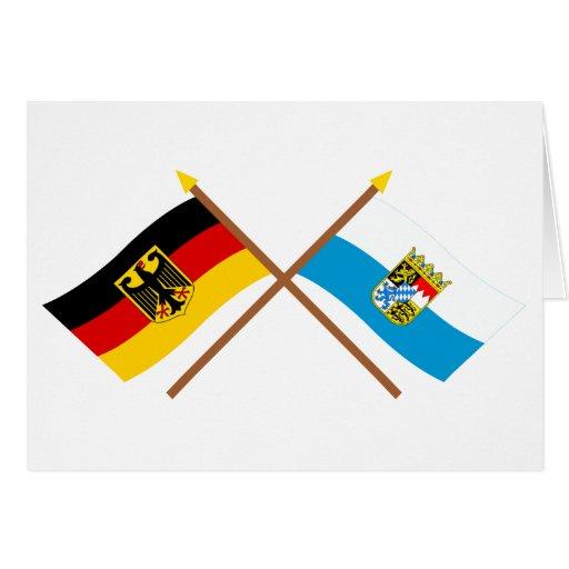 Deutschland und Bayern Flaggen, gekreuzt Greeting Card