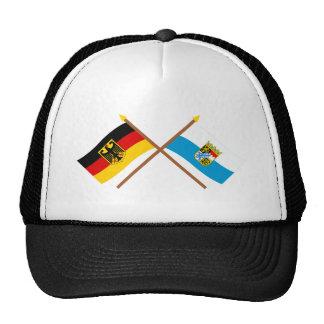 Deutschland und Bayern Flaggen gekreuzt Trucker Hats