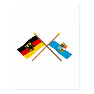 Deutschland und Bayern Flaggen, gekreuzt Postcard