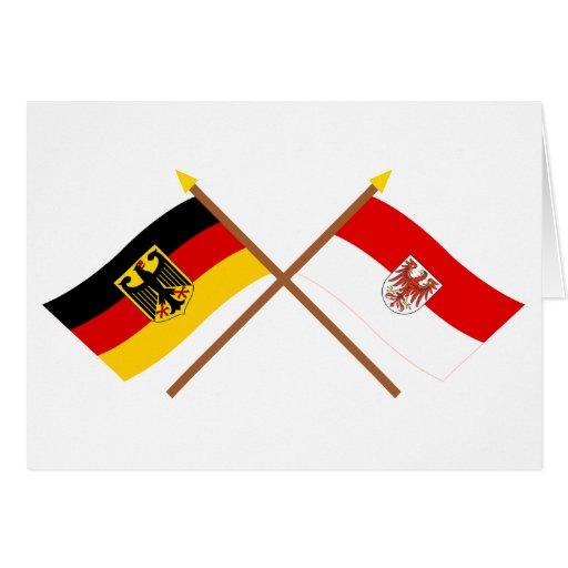 Deutschland und Brandenburg Flaggen, gekreuzt Cards