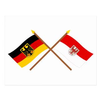 Deutschland und Brandenburg Flaggen, gekreuzt Postcard