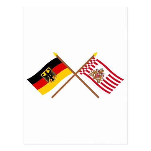 Deutschland und Bremen Flaggen, gekreuzt Post Cards