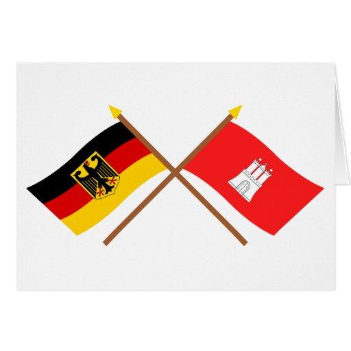 Deutschland und Hamburg Flaggen, gekreuzt Card