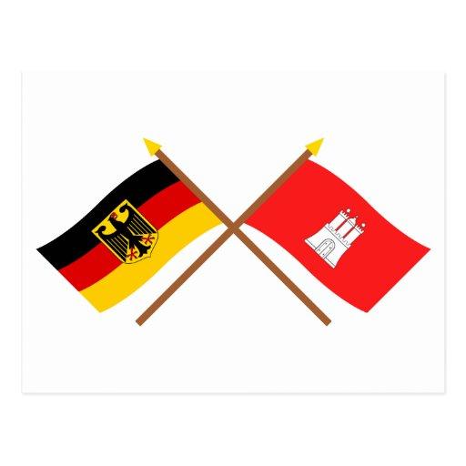 Deutschland und Hamburg Flaggen, gekreuzt Postcards