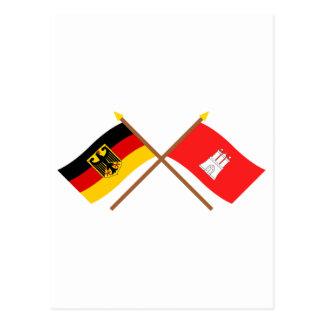 Deutschland und Hamburg Flaggen, gekreuzt Postcard