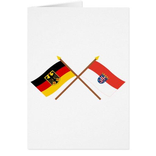 Deutschland und Hessen Flaggen, gekreuzt Cards